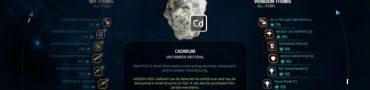 me andromeda uranium cadmium lithium fluorite nickel irridium