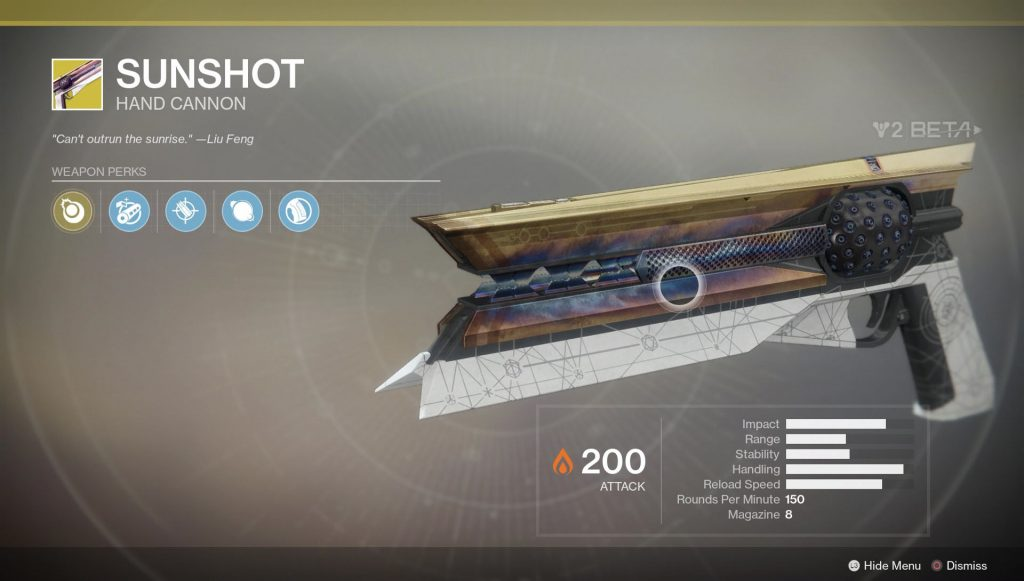 destiny 2 sunshot exotic handcannon location