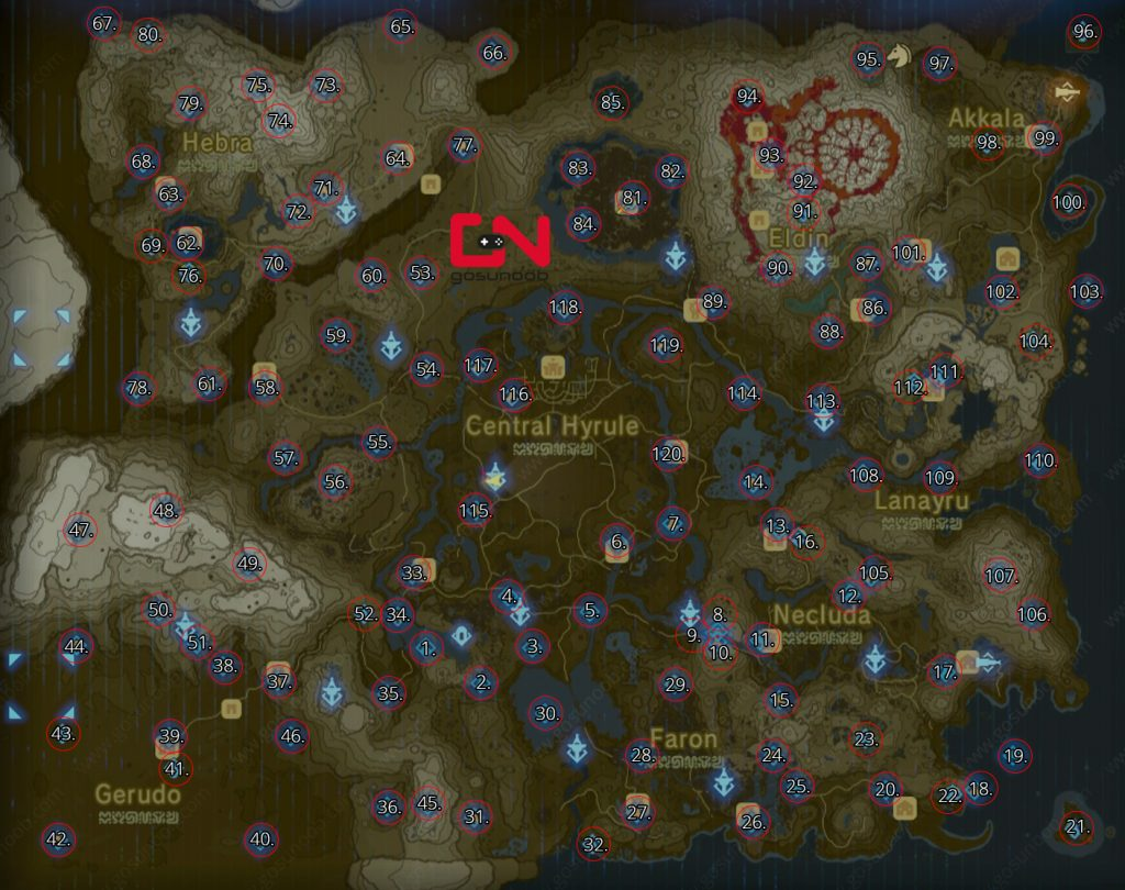Zelda Map of Shrine Locations