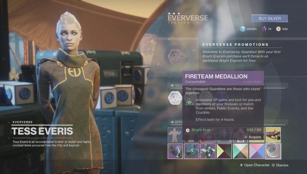 Destiny 2 Fireteam Medallion Item Increases Exotic Drop Chance