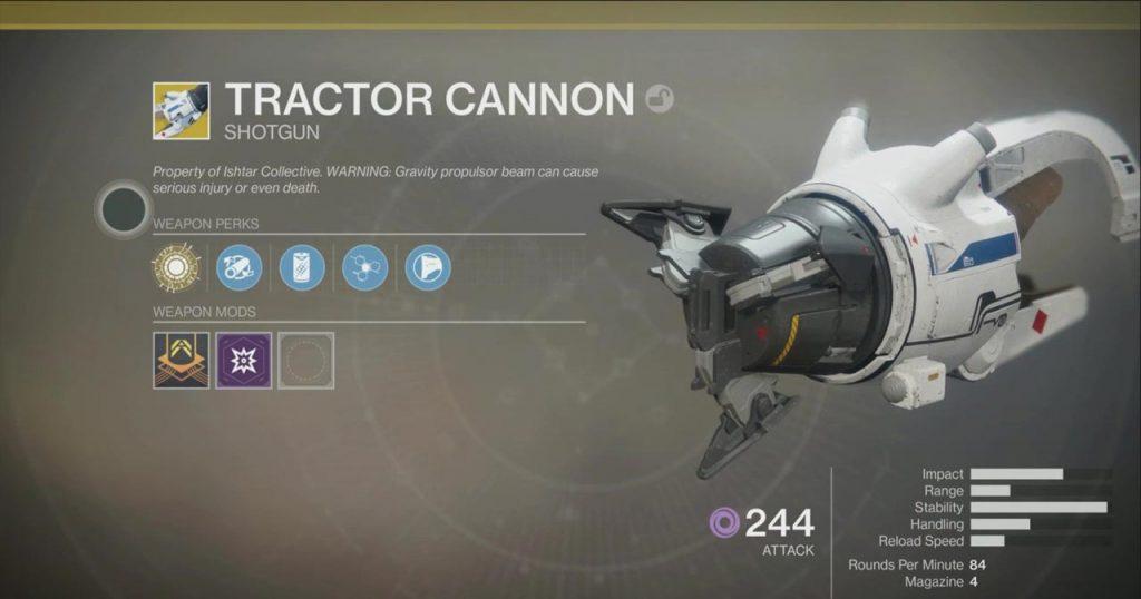 Destiny 2 Tractor Cannon Exotic Shotgun