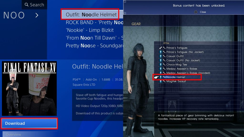 FFXV How to Get Cup Noodle Helmet Noctis Outfit