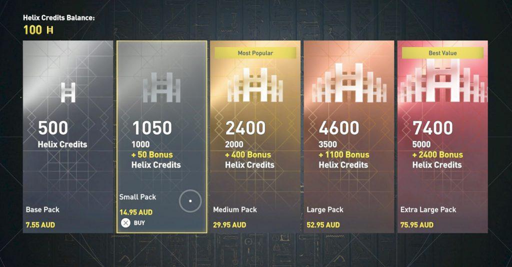ac origins helix credits prices