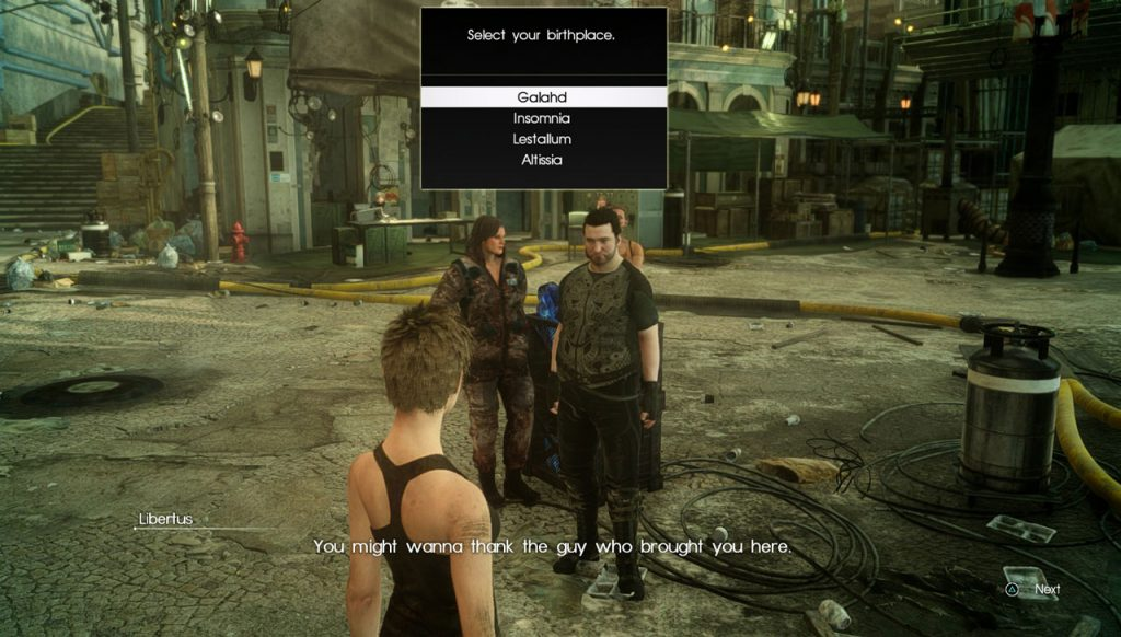 FFXV Comrades Select Your Birthplace Option