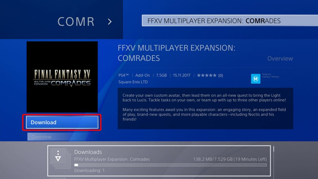 FFXV Where to find and How to Download Comrades Multiplayer Expansion