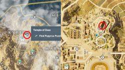 Temple of Zeus AC Origins Find Papyrus Puzzle