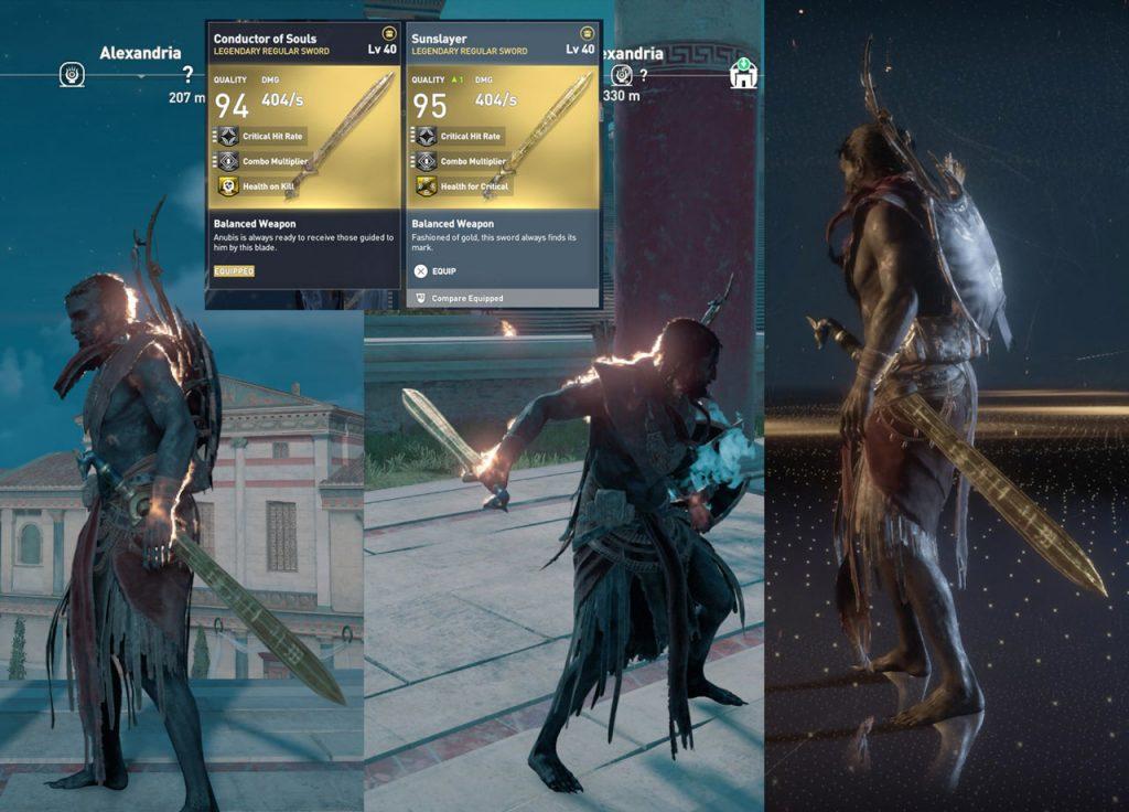 AC Origins Sunslayer Legendary Sword vs Conductor of Souls