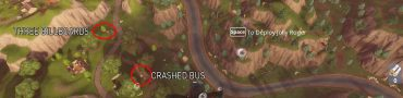 fortnite week 6 challenge metal bridge, billboards, crashed bus