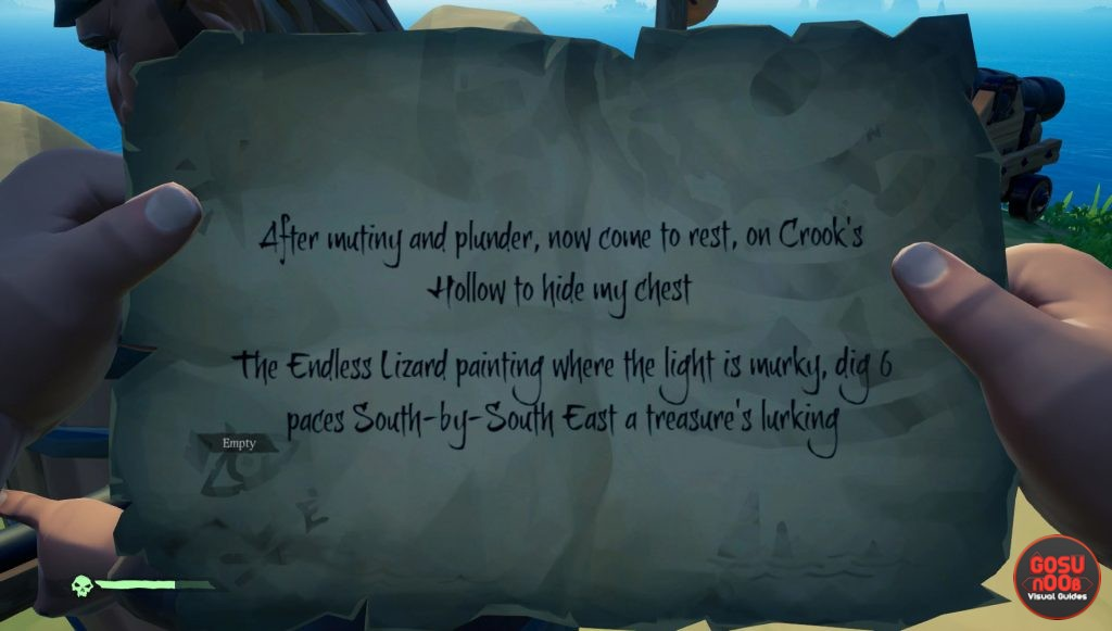 sea of thieves crook's hollow riddle solution location