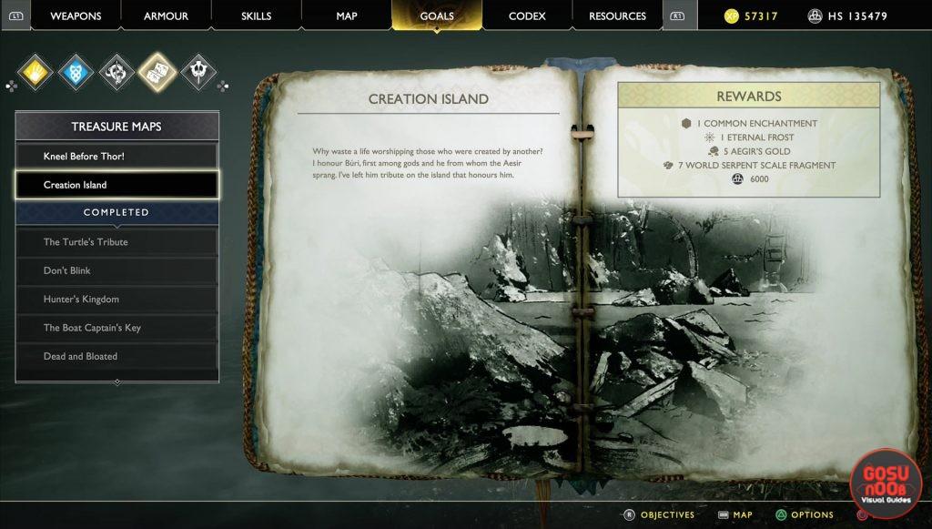 god of war creation island treasure map