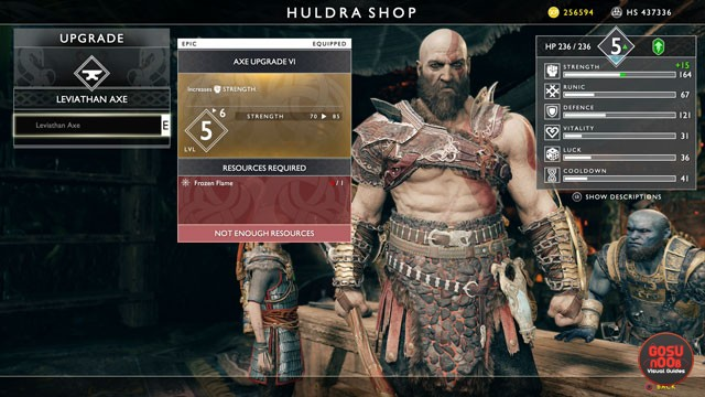 god of war frozen flame locations how to upgrade axe