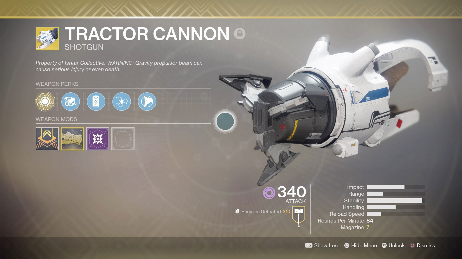 Destiny 2 How to Get Masterwork Tractor Cannon