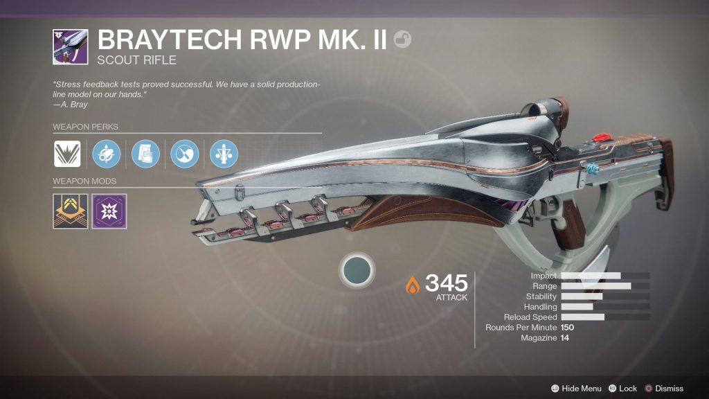 Destiny 2 Warmind Braytech RWP MK. 2 Legendary Scout Rifle