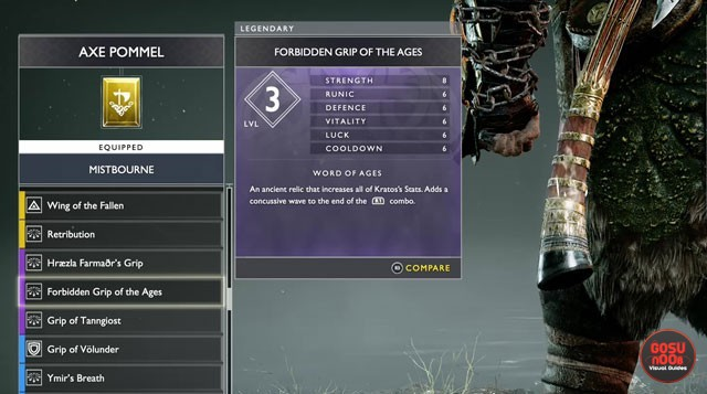 God of War How to Get Forbidden Grip of the Ages Axe Pommel