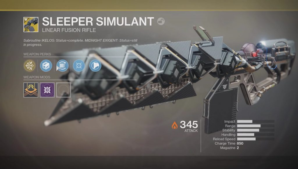 destiny 2 sleeper simulant exotic linear fusion rifle