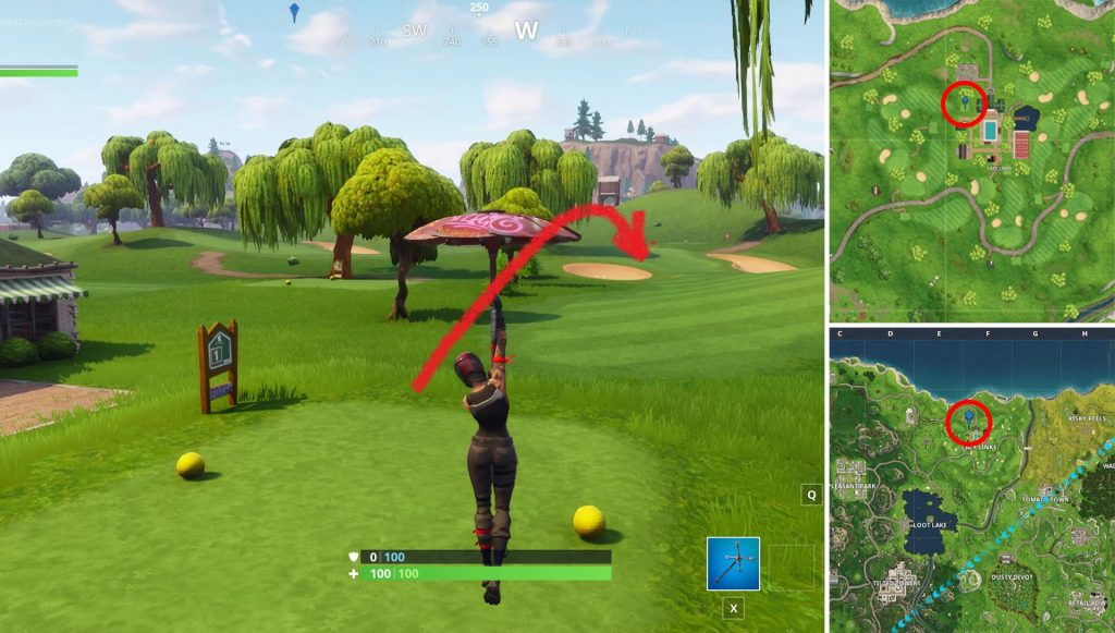 Fortnite Hit a golf ball from tee to green on different holes Location