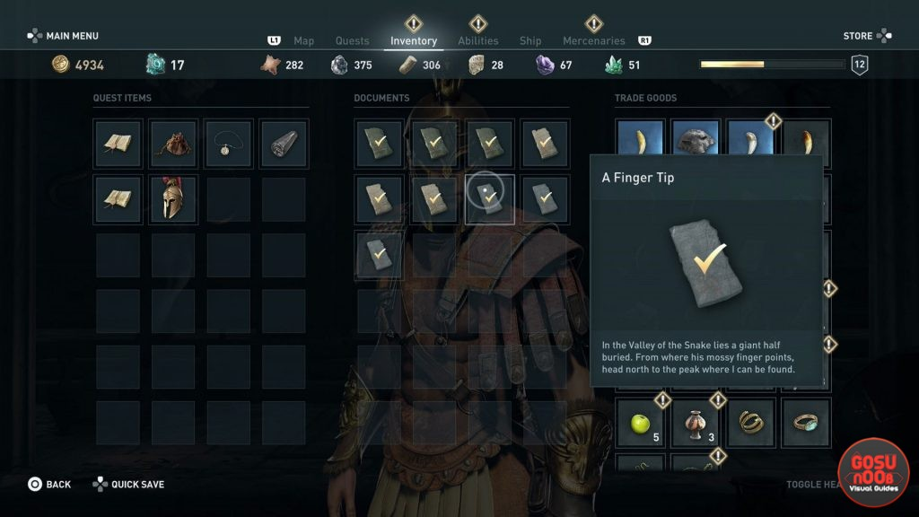 AC Odyssey Finger Tip Ainigmata Ostraka Location & Solution