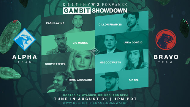Destiny 2 Forsaken Gambit Celeb Showdown Stream Announced