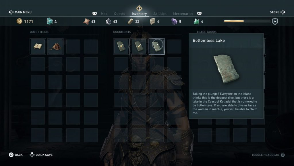 ac odyssey bottomless lake ainigmata ostraka location riddle solution