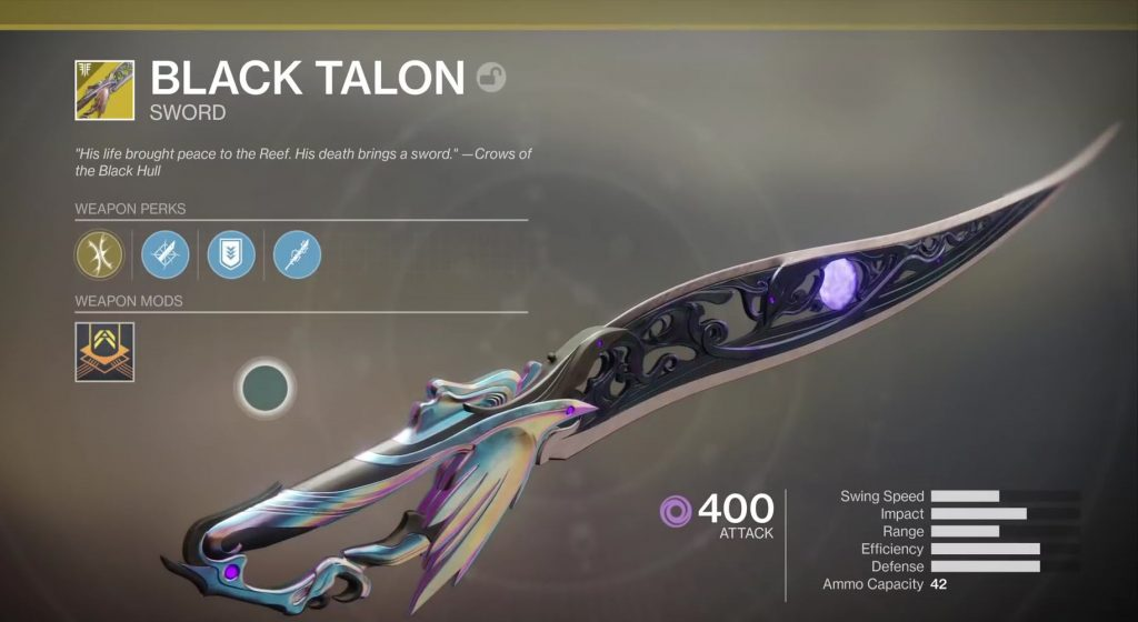 destiny 2 black talon exotic sword
