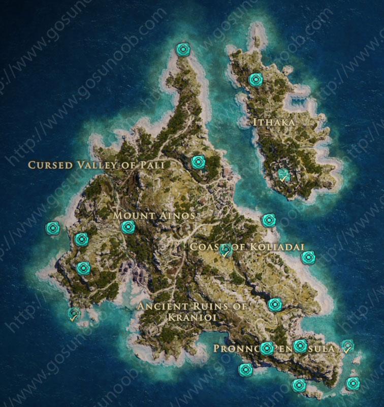 Orichalcum ore Fragments Map Locations Kephalonia
