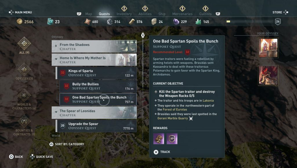 ac odyssey one bad spartan spoils the whole bunch quest