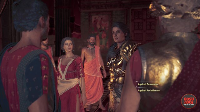ac odyssey pausanias arhidemos who to accuse