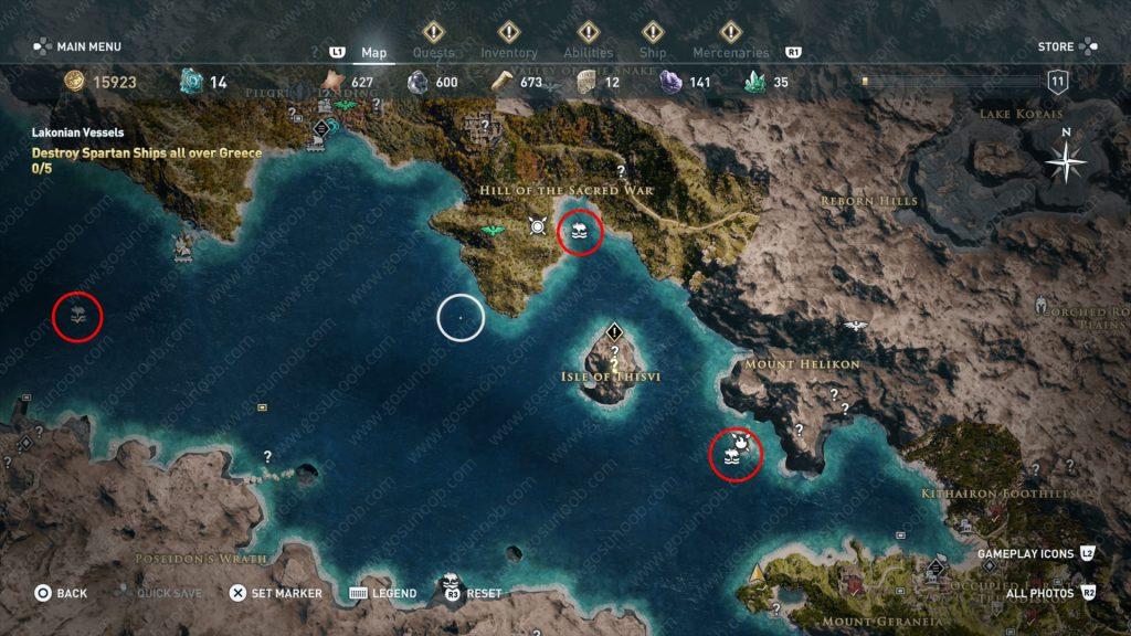 ac odyssey shark locations map