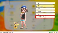pokemon lets go how to change trainer outfit