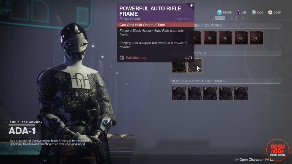 Destiny 2 Powerful Auto Rifle Frame Quest - Black Armory Balistic Log