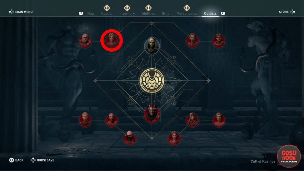 AC Odyssey Legacy of First Blade Augos the All-Seeing Cultist Location