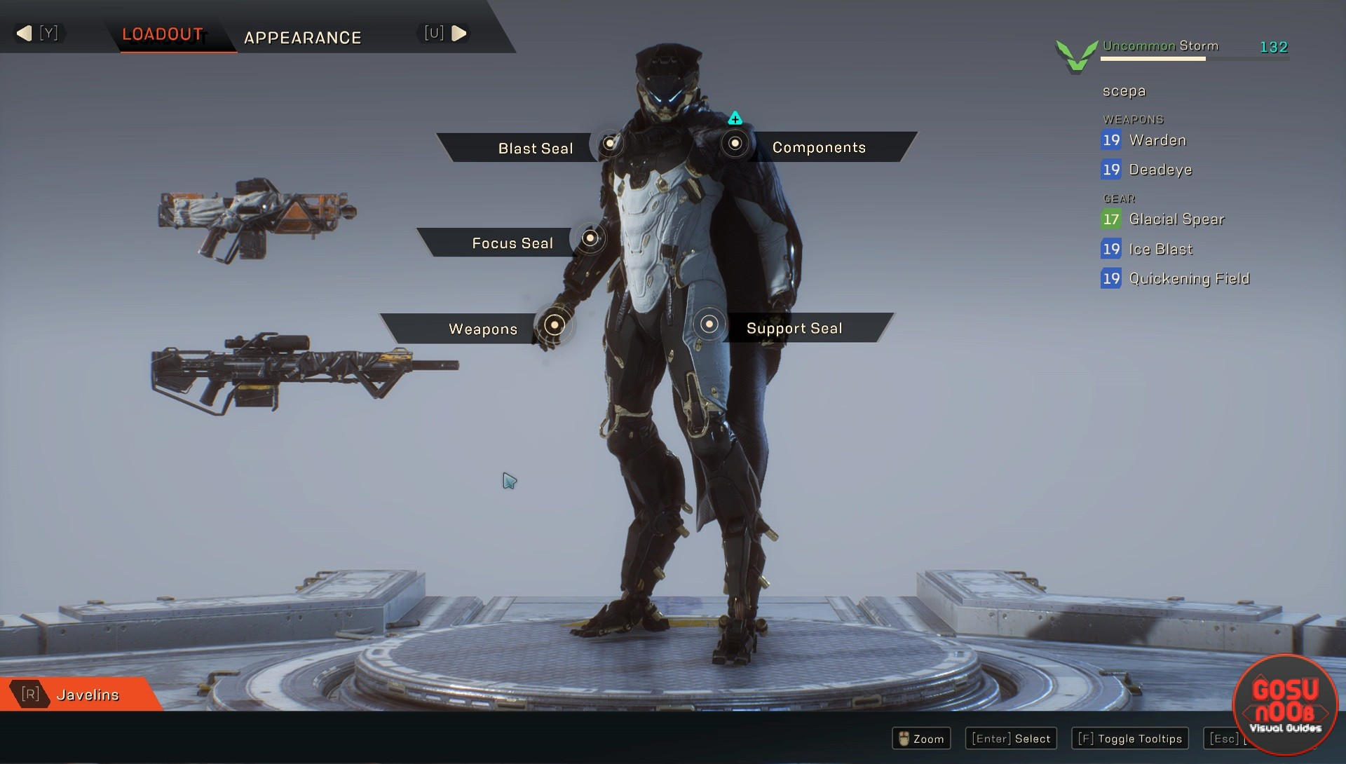 anthem how to choose which javelin to play