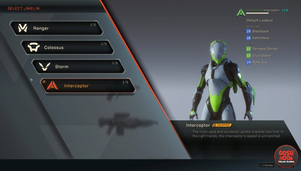anthem how to unlock new javelin suits