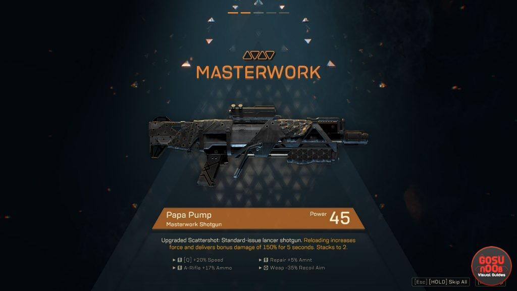 anthem legendary masterwork weapons effects perks