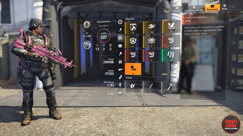 division 2 exotic components where to farm