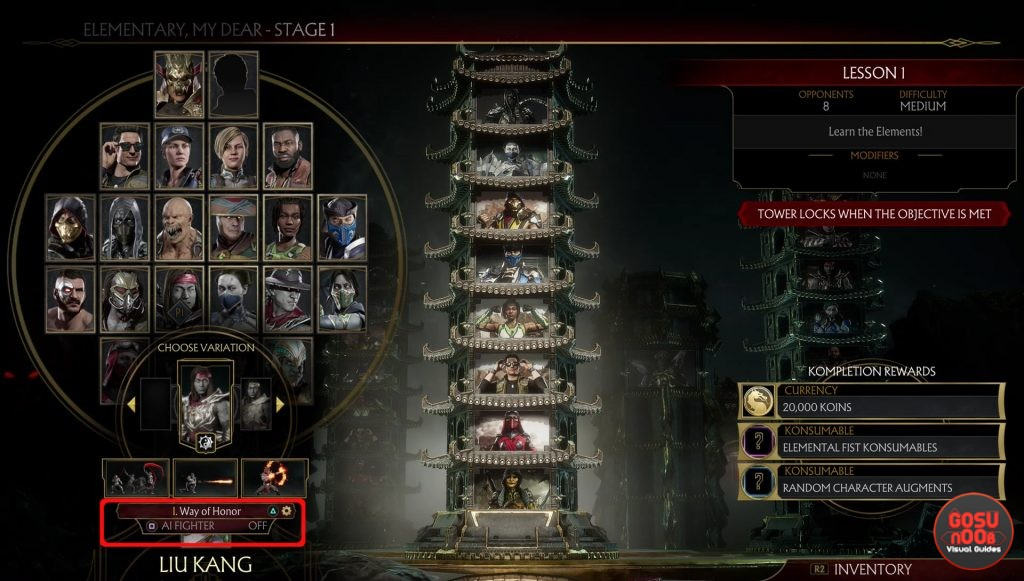 Mortal Kombat 11 How to Use AI Fighters in Tower of Time