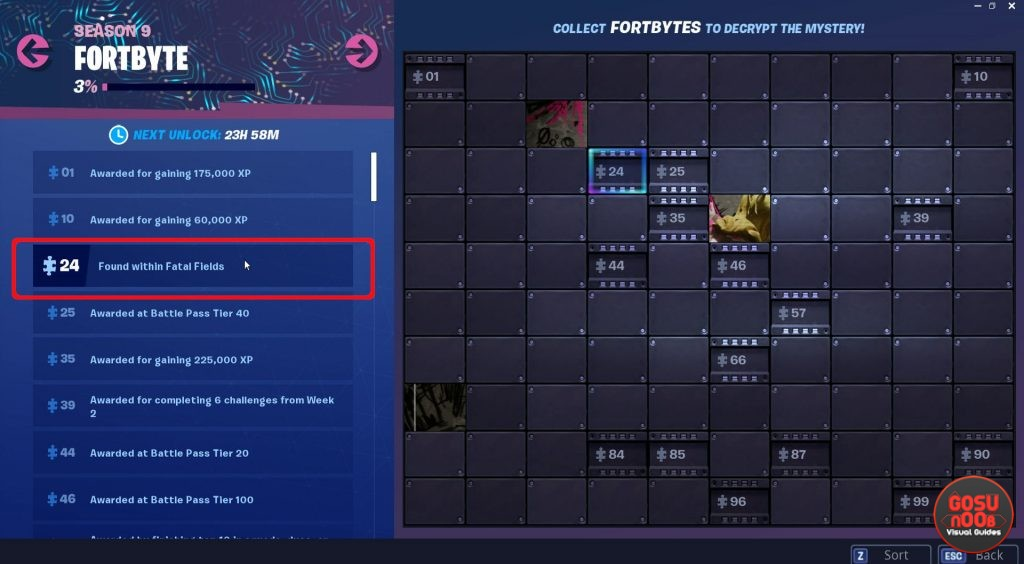 fortnite fortbyte 24 found within fatal fields