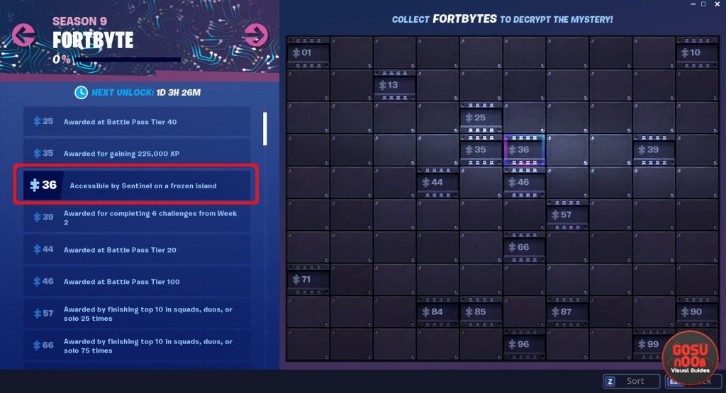 fortnite fortbyte 36 accessible by sentinel on frozen island