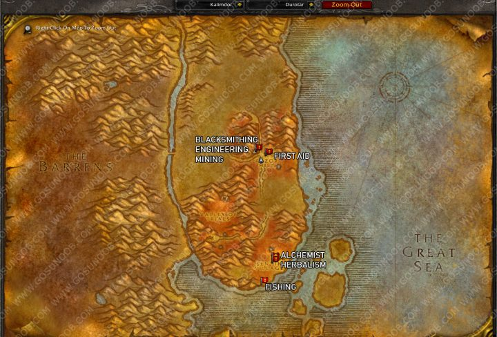 wow classic durotar profession trainer locations