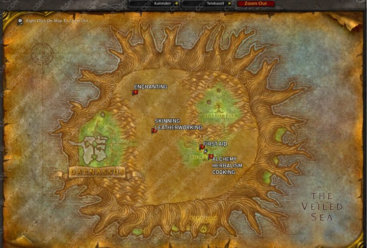 wow classic night elf first skinning trainer location