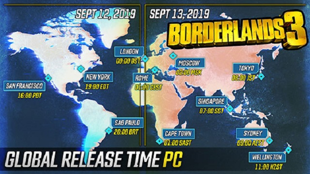 Borderlands 3 Pre-Load & Launch Times Revealed on PC, PS4, Xbox One