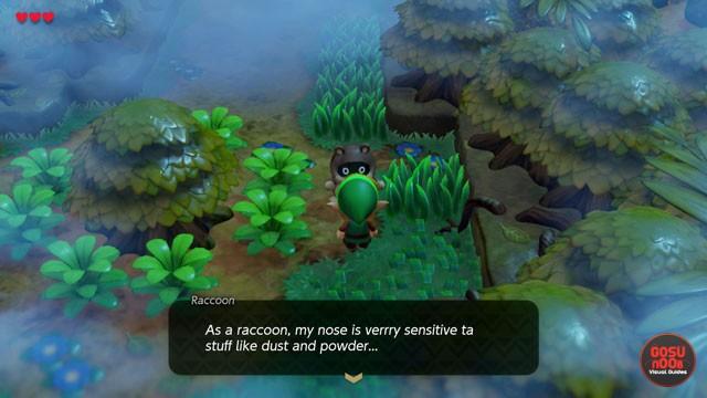 Zelda Link's Awakening How to Get Past Raccoon in Mysterious Woods - Magic Powder