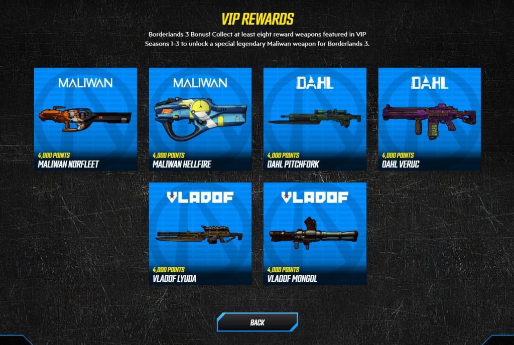 borderlands 3 where to find vip weapons rewards