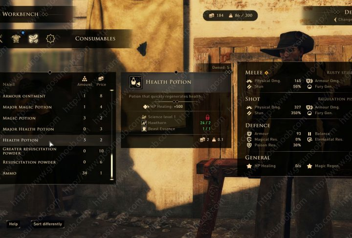 greedfall charlatan supply potions to the unhappy clients