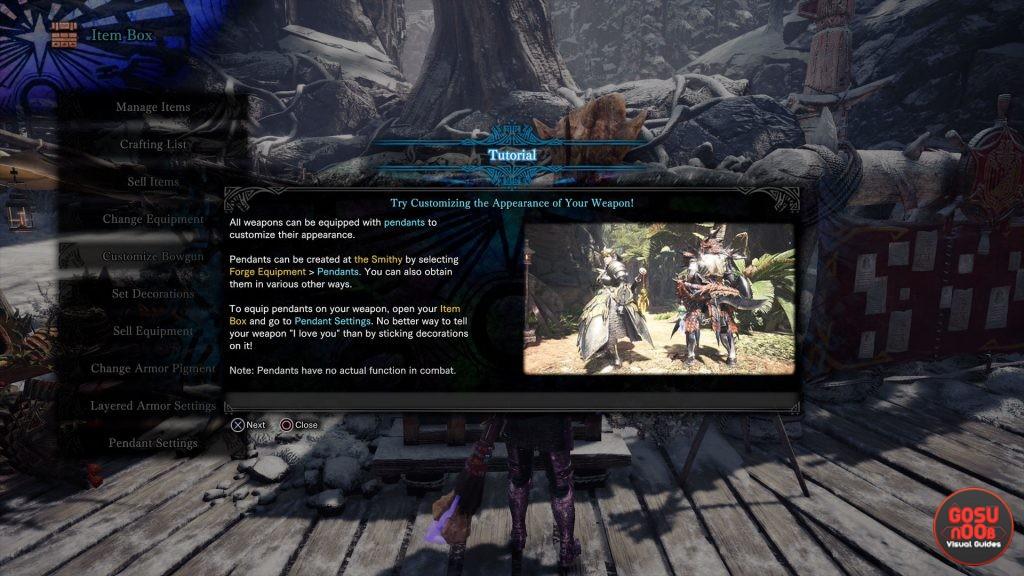 mhw iceborne pendants how to customize weapons