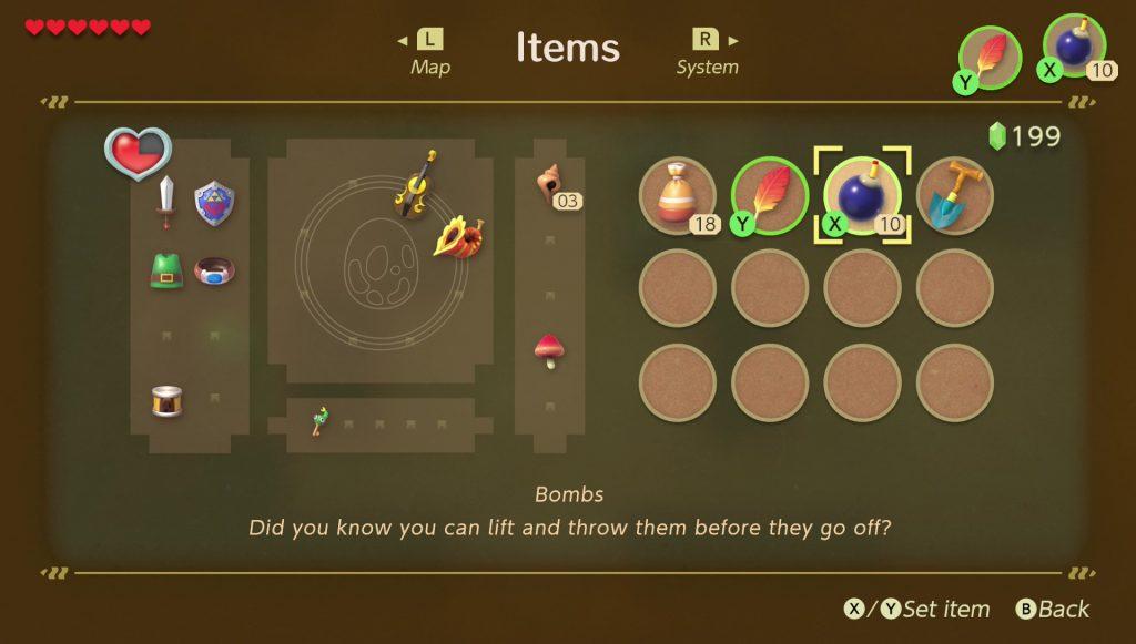 zelda link's awakening how to get bombs destroy walls