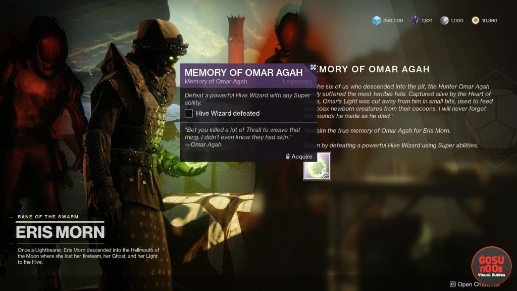 Destiny 2 Memory of Omar Agah Hive Wizard & Throwing Knives Locations