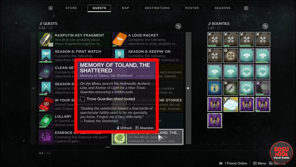 Destiny 2 Memory of Toland Trove Guardian Chest Location
