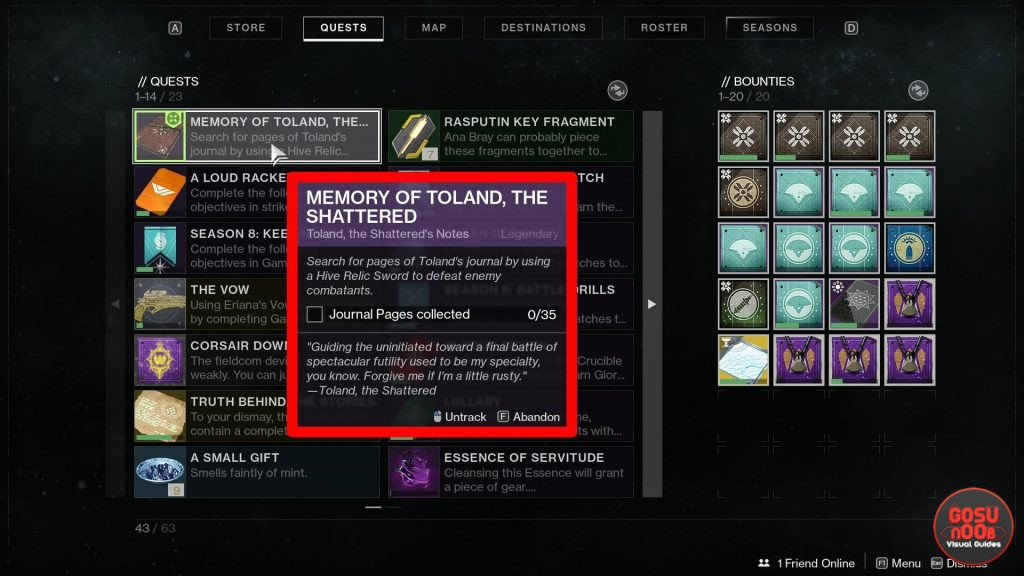 Destiny 2 Memory of Toland the Shattered Journal Pages Locations
