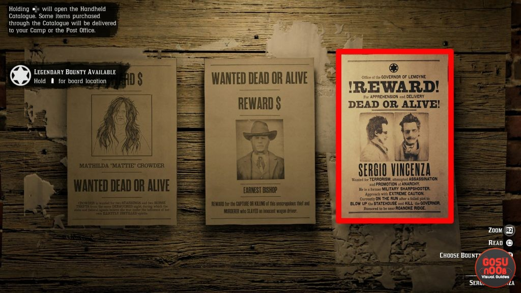 Red Dead Online Legendary Bounty Sergio Vincenza Location
